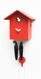 """Moderne Kuckucksuhr 1-Tag-Werk """"Rotes Haus"""""""