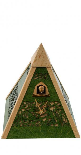 "Moderne Quarz-Kuckucksuhr ""Pyramide Grün"""