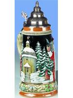 """Bierkrug """"Alpenländischer Nikolaus mit Stille Nacht Kapelle"""" 0,75 l"""