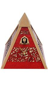 "Moderne Quarz-Kuckucksuhr ""Pyramide Rot"""