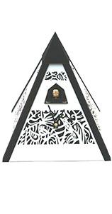 """Moderne Quarz-Kuckucksuhr """"Pyramide Schwarz/Weiß"""""""