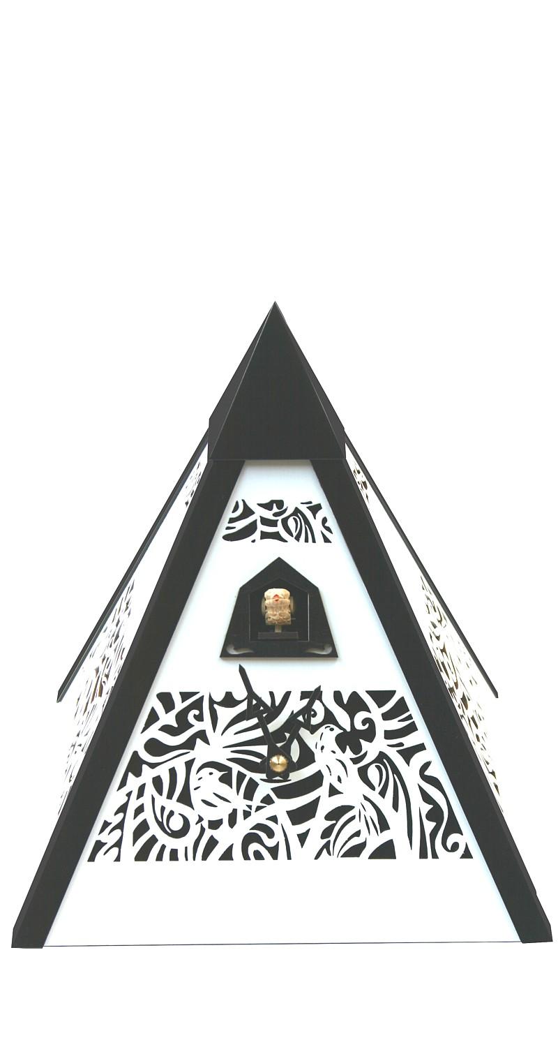 moderne quarz kuckucksuhr pyramide schwarz wei. Black Bedroom Furniture Sets. Home Design Ideas